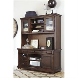 Ashley Porter Home Office Credenza with Hutch in Brown