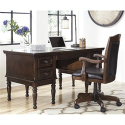 Ashley Porter Home Office Executive Desk with Chair in Brown