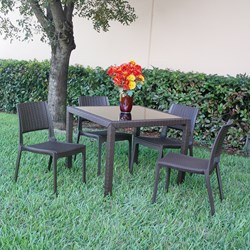 Compamia Miami 5 Piece Wickerlook Square Dining Set