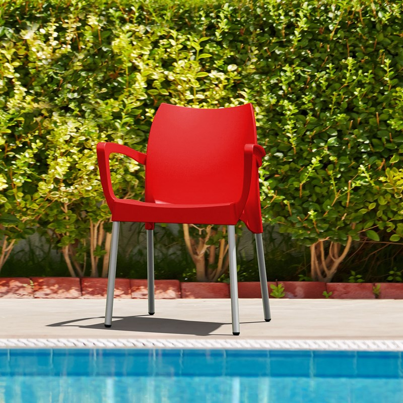 Compamia Dolce Resin Outdoor Arm Chair In Red Isp047 Red