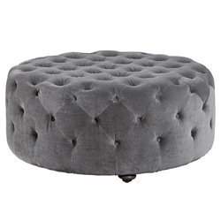 Universal Furniture Curated Aberdeen Velvet Tufted Round Ottoman