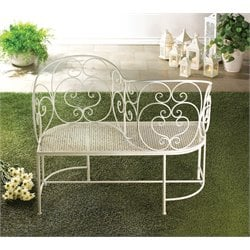 Zingz and Thingz Couple Patio Bench in White