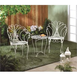 Zingz and Thingz 3 Piece Peacock-Inspired Patio Bistro Set in White