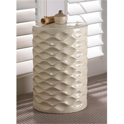 Zingz and Thingz Ivory Faceted Ceramic Stool in White