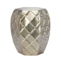 Zingz and Thingz Quatrefoil Design Metal Stool in Silver
