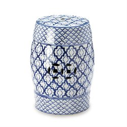 Zingz and Thingz Ceramic Garden Stool in White and Blue