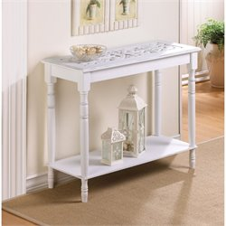 Zingz and Thingz Carved-Top Table in White