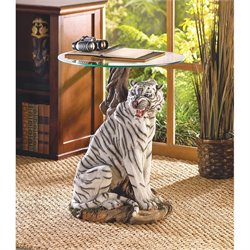 Zingz and Thingz White Tiger Accent Table