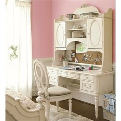 Smartstuff Gabriella 5 Drawer Wood Vanity Hutch Desk in Lace