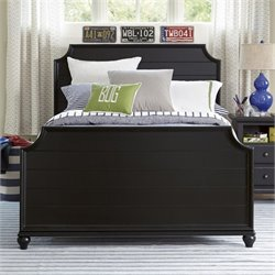 Black & White Wood Panel Bed in Black