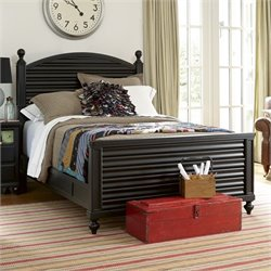 Black & White Wood Reading Twin Bed in Black