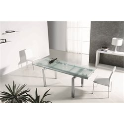 Casabianca Frosty Glass Extendable Dining Table in Silver