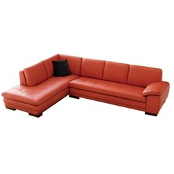 J&M Furniture 625 Italian Leather Left Sectional in Pumpkin