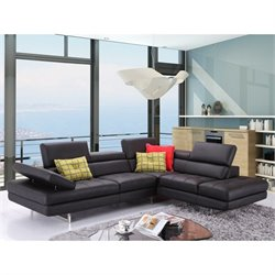 J&M Furniture A761 Italian Leather Right Sectional in Black