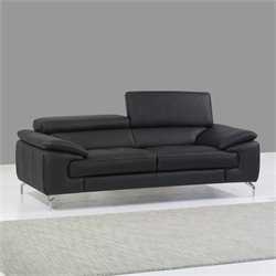 J&M Furniture A973 Italian Leather Sofa in Black