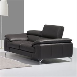 J&M Furniture A973 Leather Loveseat in Grey