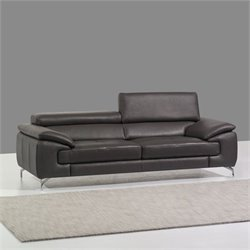 J&M Furniture A973 Leather Sofa in Grey