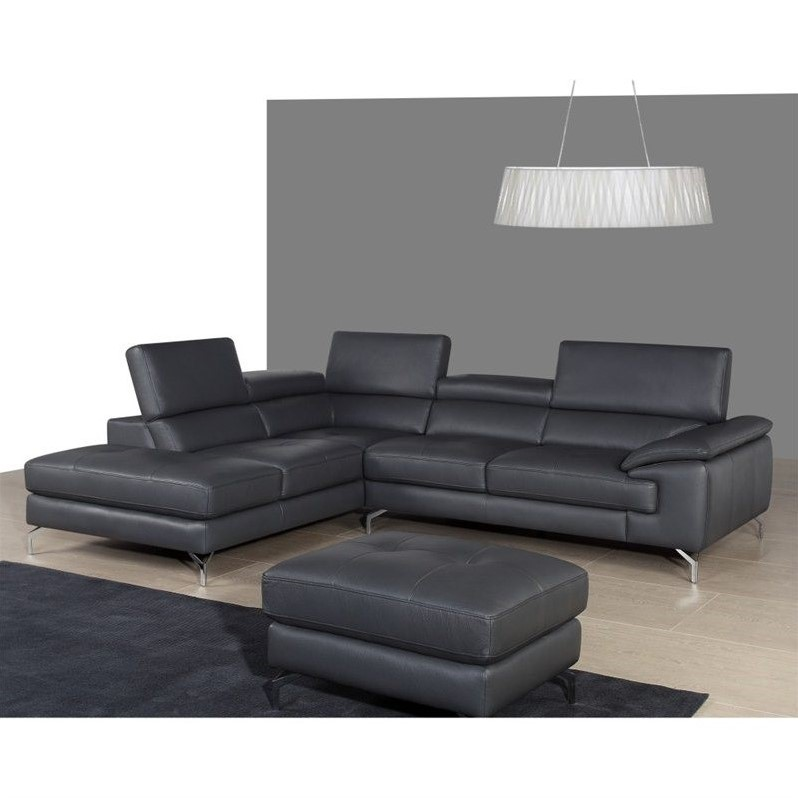 Jm furniture a973 italian leather left chaise sectional for Italian leather sectional sofa chaise