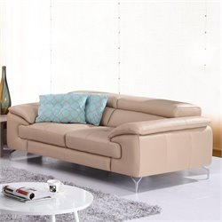 J&M Furniture A973 Italian Leather Loveseat in Peanut