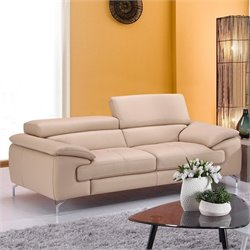 J&M Furniture Italian Leather Sofa in Peanut