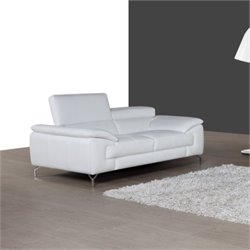 J&M Furniture A973 Leather Loveseat in White