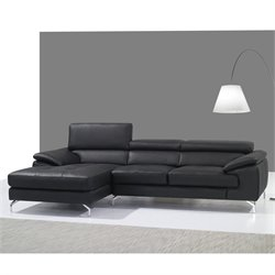 A973B Leather Mini Sectional in Black