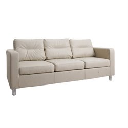 Gold Sparrow Detroit Faux Leather Sofa in Sand