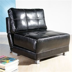 Gold Sparrow New York Faux Leather Convertible Accent Chair in Black
