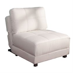 Gold Sparrow New York Faux Leather Convertible Accent Chair in White