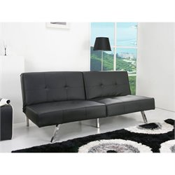 Gold Sparrow Jacksonville Faux Leather Convertible Sofa in Black