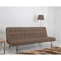 Gold Sparrow Vegas Faux Leather Convertible Sofa in Taupe