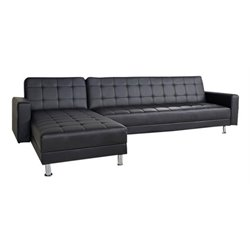 Gold Sparrow Frankfort Faux Leather Convertible Sectional in Black