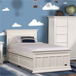 Evolur Napoli Twin Panel Bed in Distressed White