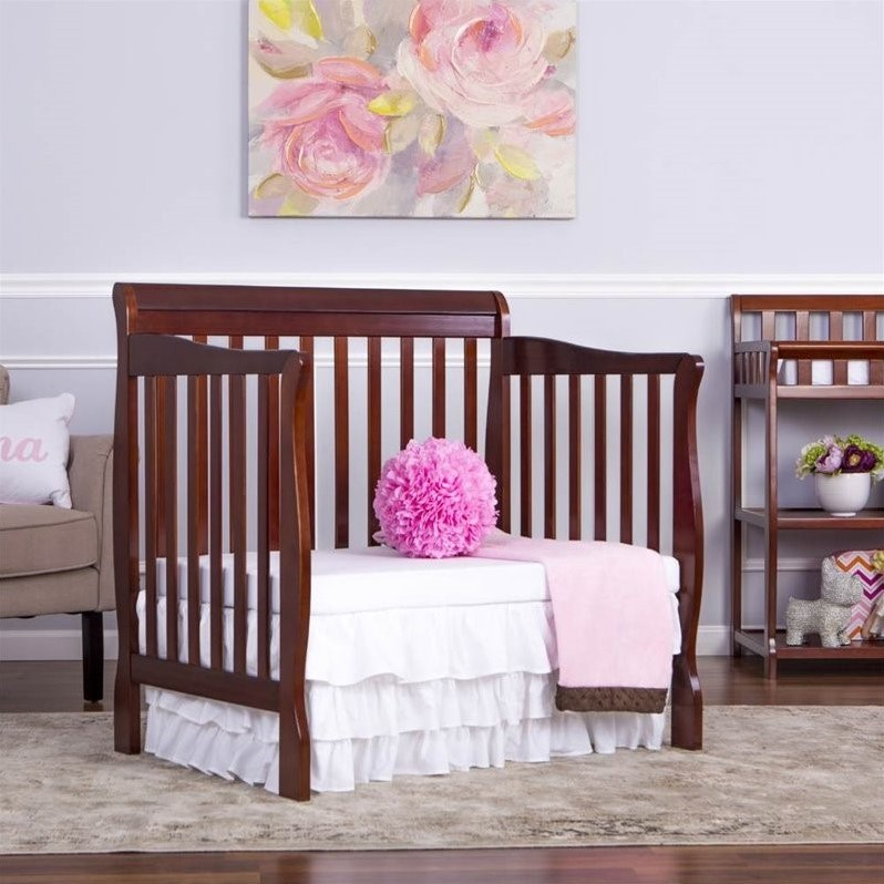 Dream On Me Aden Convertible 4 In 1 Mini Crib In Espresso 628 E