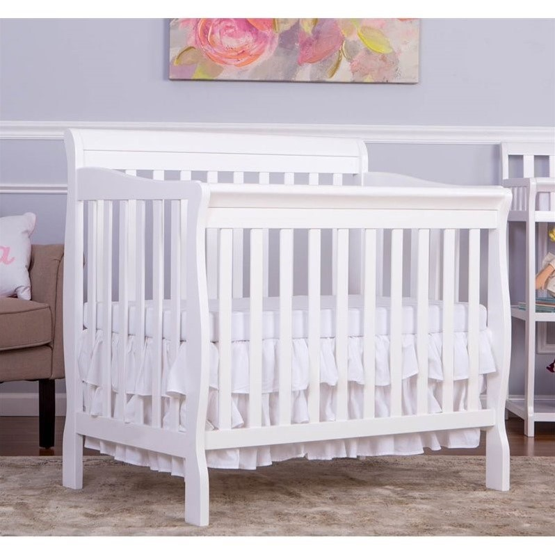 Dream On Me Aden Convertible 4 In 1 Mini Crib In White 628 W