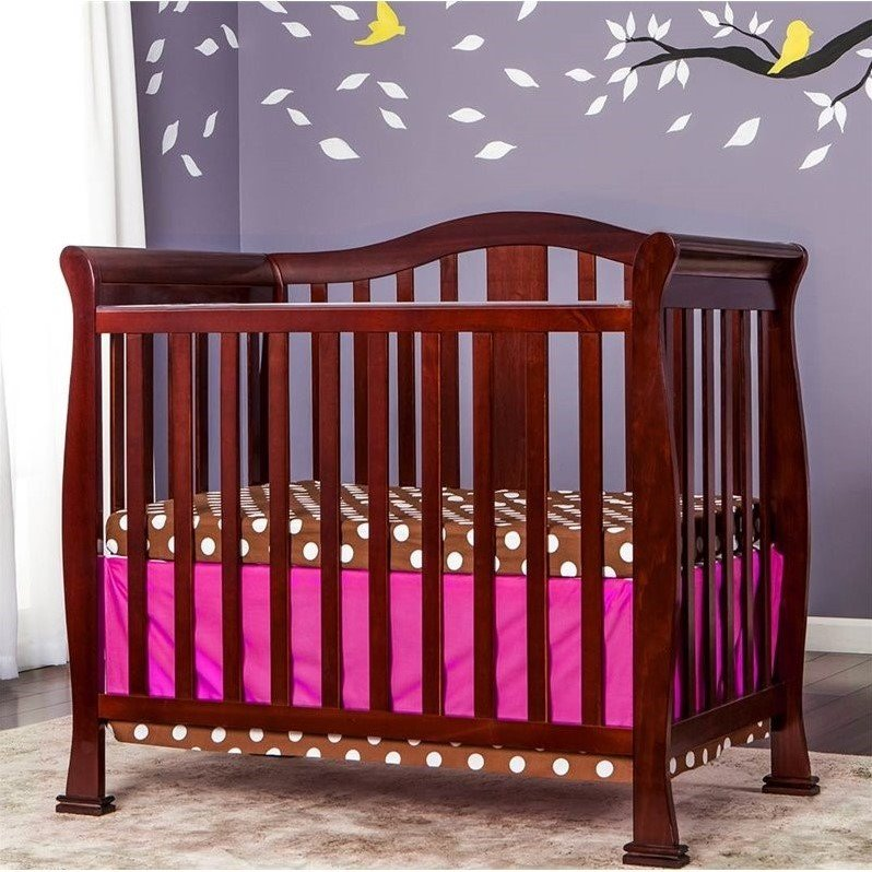 Dream On Me Naples 4 In 1 Convertible Mini Crib In Cherry 633 C