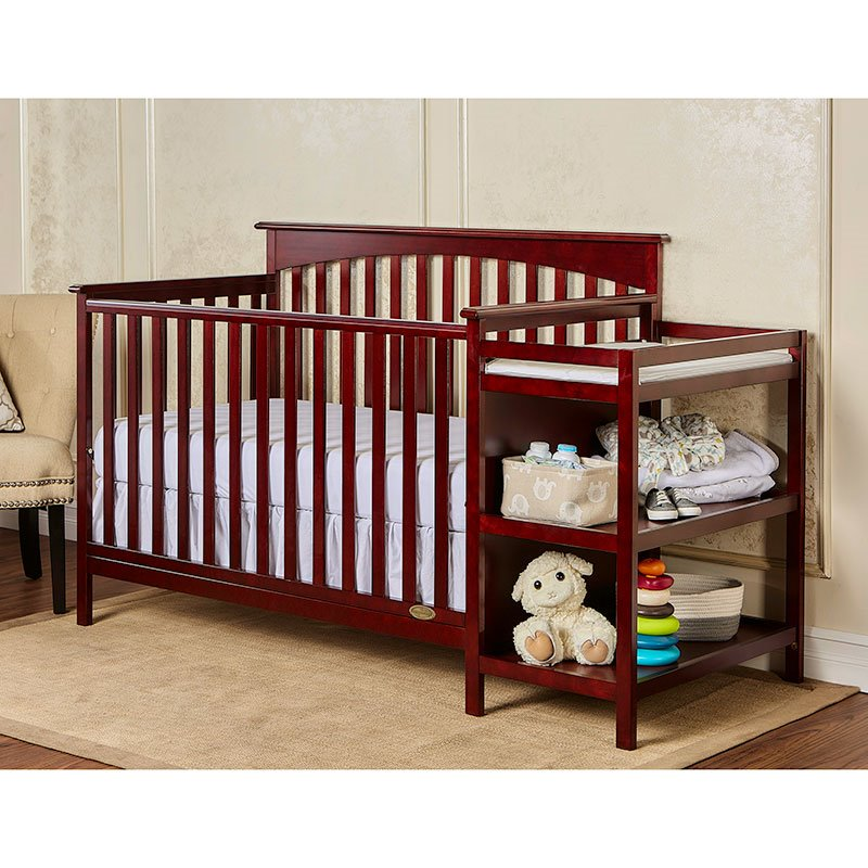 Dream On Me Chloe 5 In 1 Convertible Crib With Changer In Cherry 665 C
