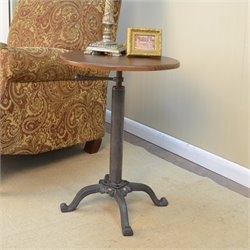 Carolina Classic Vintage Farmhouse Adjustable Accent Table in Brown