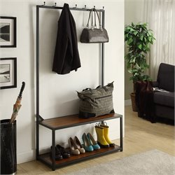 Carolina Classic Nora Metal Coat Rack Bench in Black