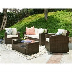 Thy-Hom Bahia 4 Piece Outdoor Wicker Coversation Sofa Set in Brown
