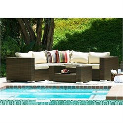 Thy-Hom Kessler 4 Piece Outdoor Wicker Sectional Sofa Set in Brown