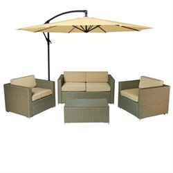The-Hom Cane Garden 5 Piece Outdoor Wicker Sofa Set