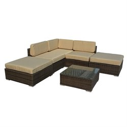 The-Hom Barton 6 Piece Wicker Patio Sectional Sofa Set