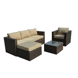 The-Hom Caribe 4 Piece Wicker Outdoor Sofa Set