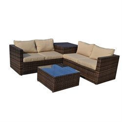 The-Hom Ventana 4 Piece Wicker Outdoor Sofa Set