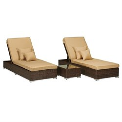 Thy-Hom Lantis 3 Piece Wicker Patio Lounge Set in Beige