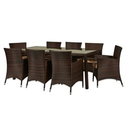 Thy-Hom Doha 9 Piece Wicker Patio Dining Set in Beige