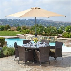 Thy-Hom Gita 6 Piece Wicker Patio Dining Set in Beige