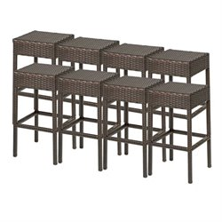 TKC Napa Backless Outdoor Wicker Bar Stools in Espresso