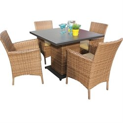 Laguna Square 5 Piece Wicker Patio Dining Set